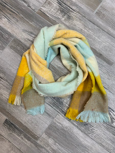 Yellow, Blue, and Brown Blanket Scarf - Sissy Boutique
