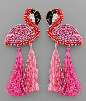 Pink Flamingo Seedbead Earrings