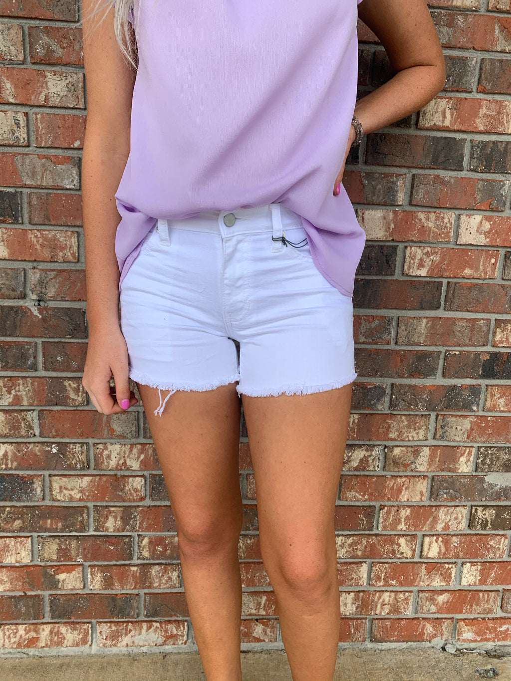 Just USA White Denim Cut Off Shorts - Sissy Boutique
