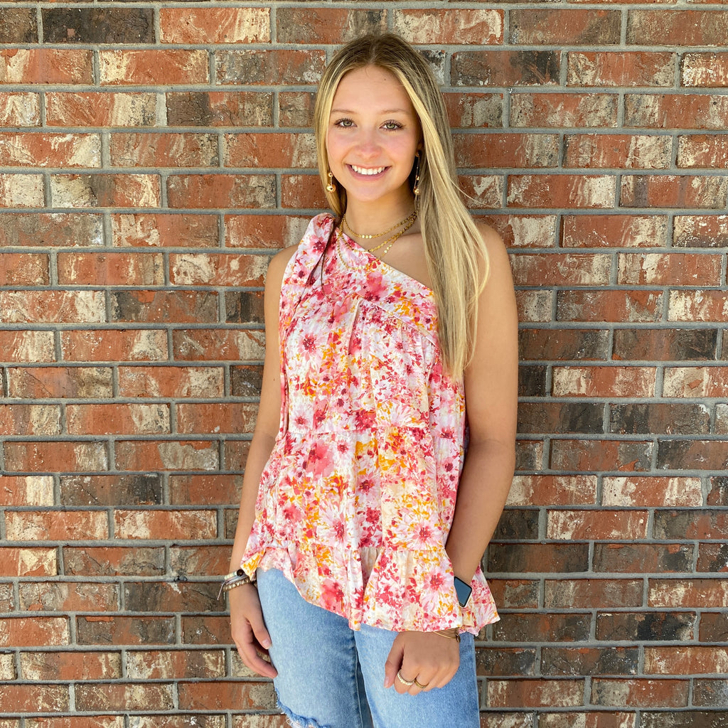 One Shoulder Floral Top with Shoulder Tie