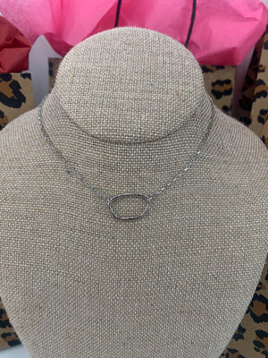 Oval Silver Choker With Box Chain - Sissy Boutique