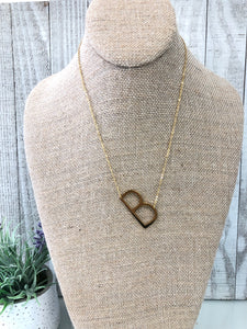 Gold Initial Necklace - B - Sissy Boutique