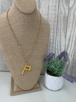 'P' Branch Initial Pendant Necklace - Sissy Boutique