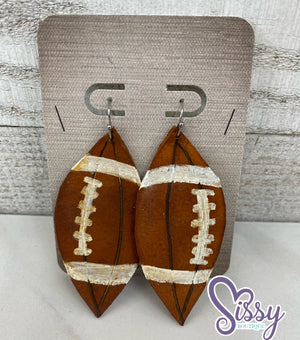 Handmade Football Leather Earrings - Sissy Boutique