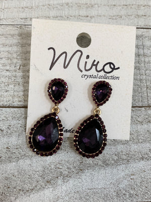 Crystals and Amethyst Earrings - Sissy Boutique