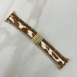 Fun & Festive Cowhide Apple Watch Band- Brown