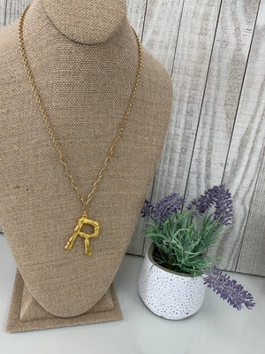 R' Branch Initial Pendant Necklace - Sissy Boutique