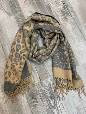 Tan and Grey Cheetah Blanket Scarf - Sissy Boutique