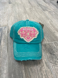 Teal Super Mom Cap - Sissy Boutique