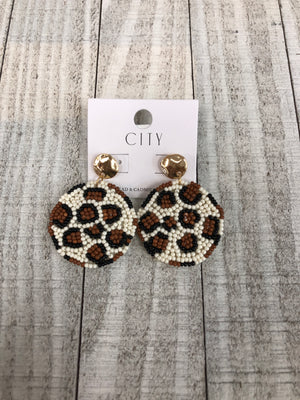 Round Leopard and Gold Earrings - Sissy Boutique
