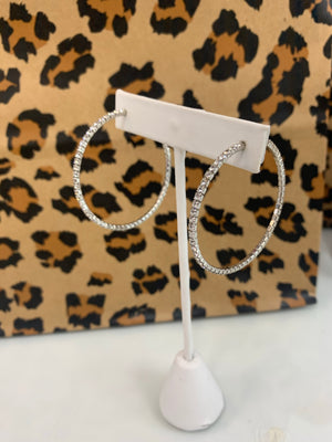 Silver Crystal Open Hoops - Sissy Boutique