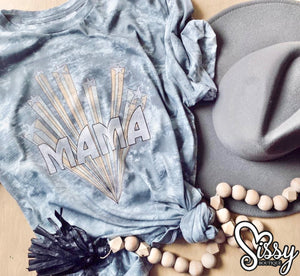 Mama Grey Tie Dye Retro and Stars Vintage Tee