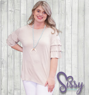 Dreamer Taupe Top - Sissy Boutique