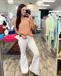 Apricot One shoulder bubble sleeve top