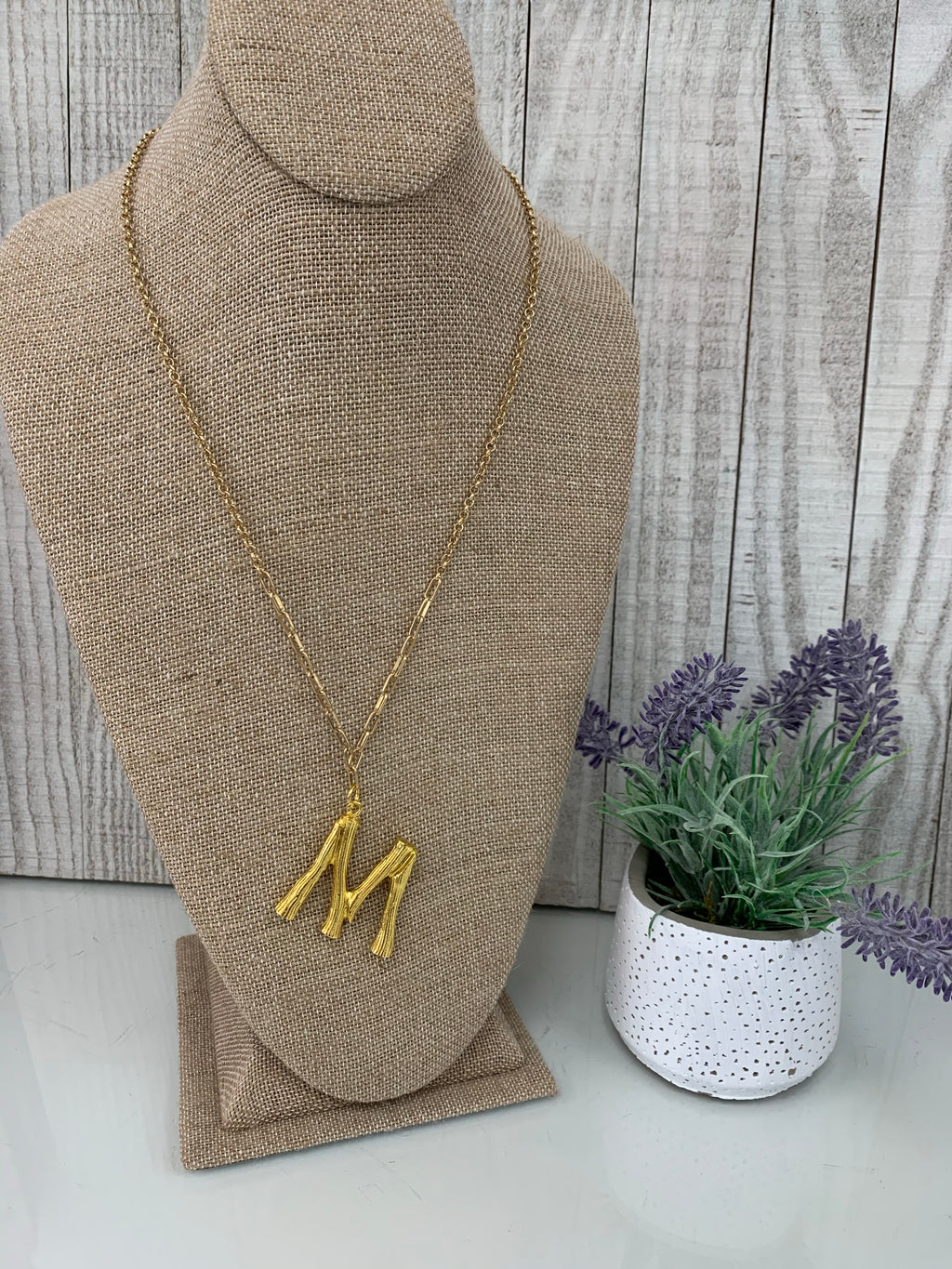 M' Branch Initial Pendant Necklace - Sissy Boutique