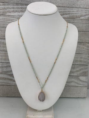 Beautifully Beaded Stone Necklace - Sissy Boutique