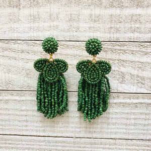 Evergreen Seedbead Swirl and Tassel Earrings - Sissy Boutique
