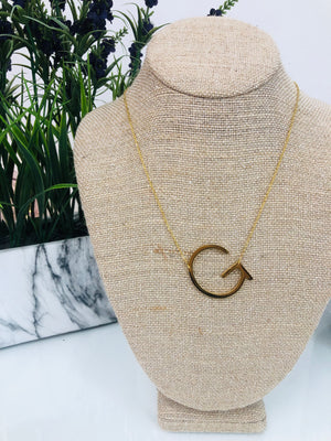 Gold Initial Necklace - G - Sissy Boutique