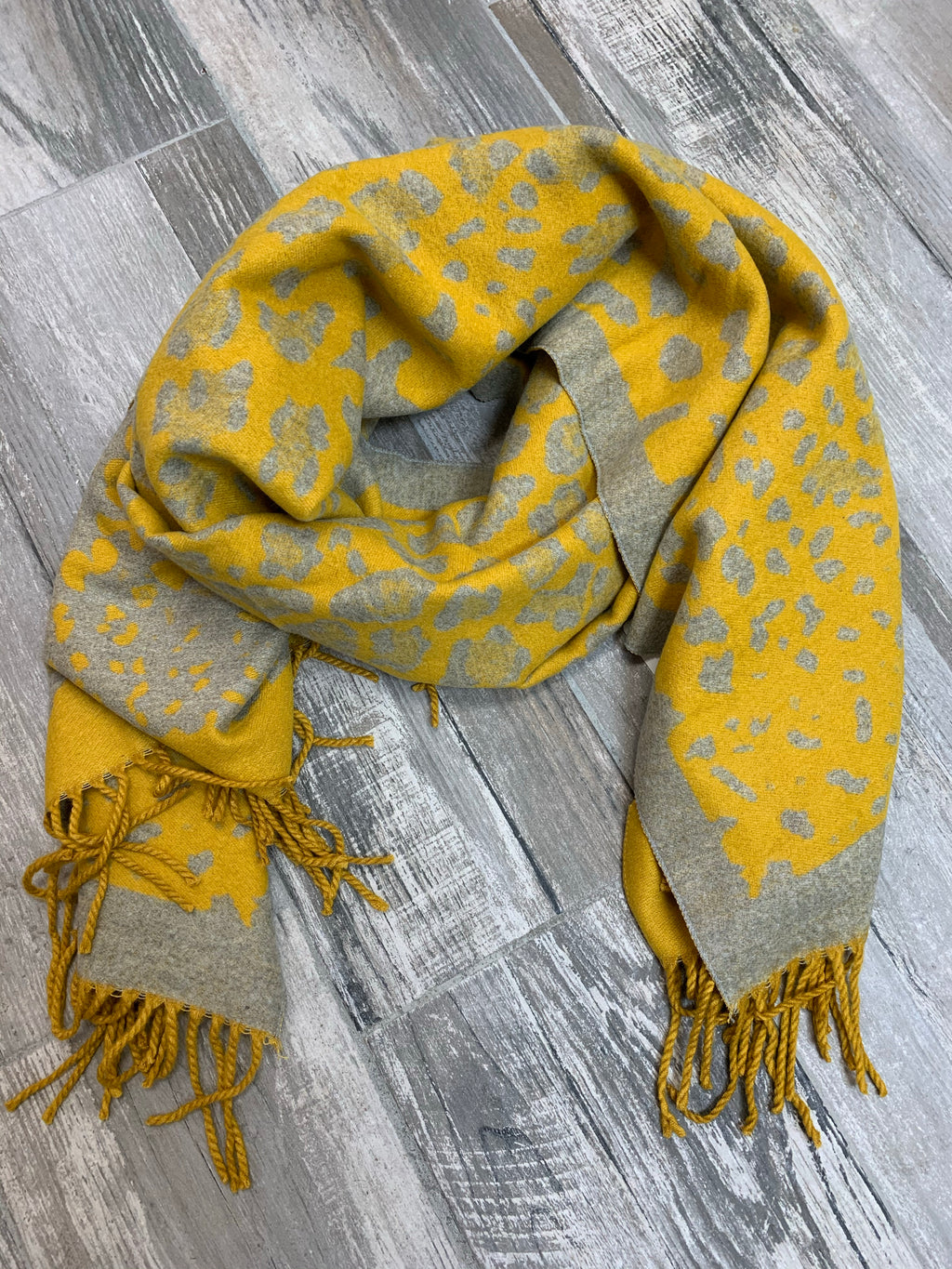 Yellow and Grey Cheetah Blanket Scarf - Sissy Boutique