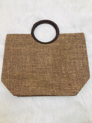 Sparkly brown woven bag - Sissy Boutique
