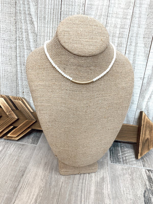 White Beaded Gold Bar Necklace - Sissy Boutique