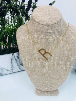 Gold Initial Necklace - R - Sissy Boutique