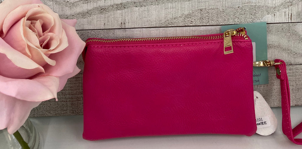Hot Pink Triple Layer Wristlet - Sissy Boutique