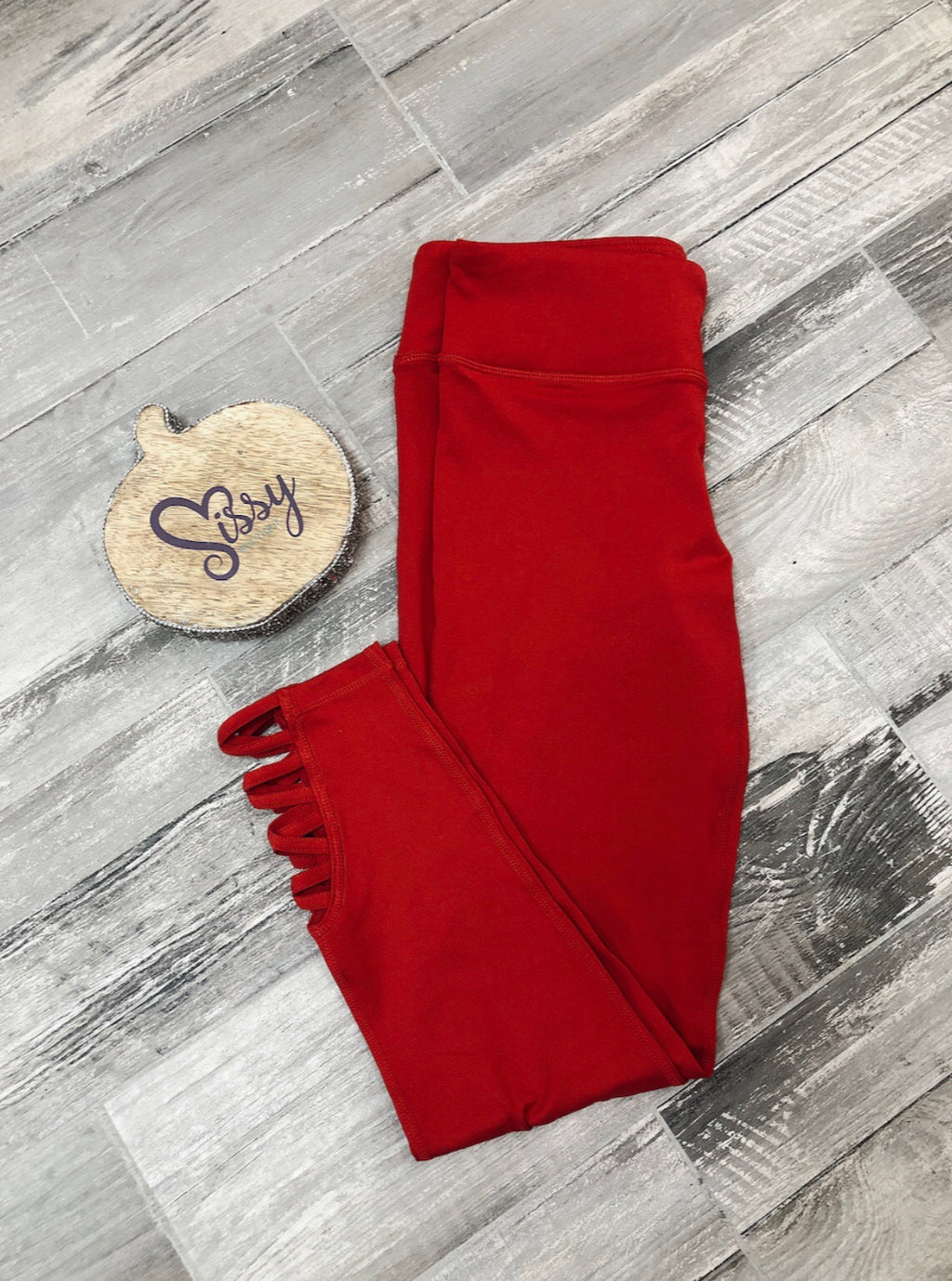 Red Detailed Bottom Leggings - Sissy Boutique