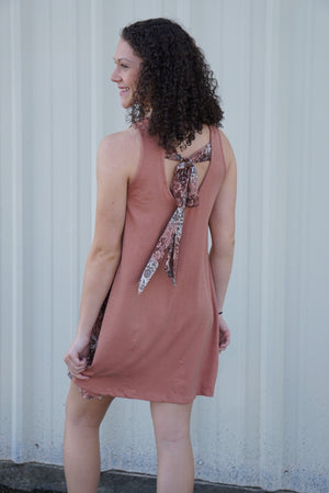 Beautiful Bliss Sleeveless Dress  (Rust with Floral accents and Tie Back) - Sissy Boutique