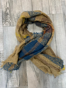 Burlap Blue, Orange, and Yellow Scarf - Sissy Boutique