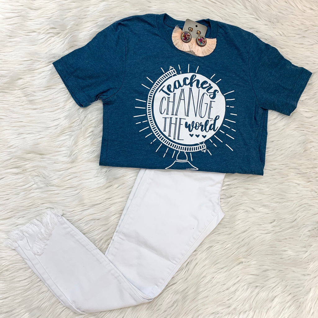 Teachers Can Change The World 🌎 Tee in Heather Teal - Sissy Boutique