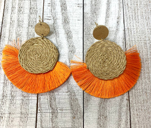 Raffia Fringe Earrings - Sissy Boutique