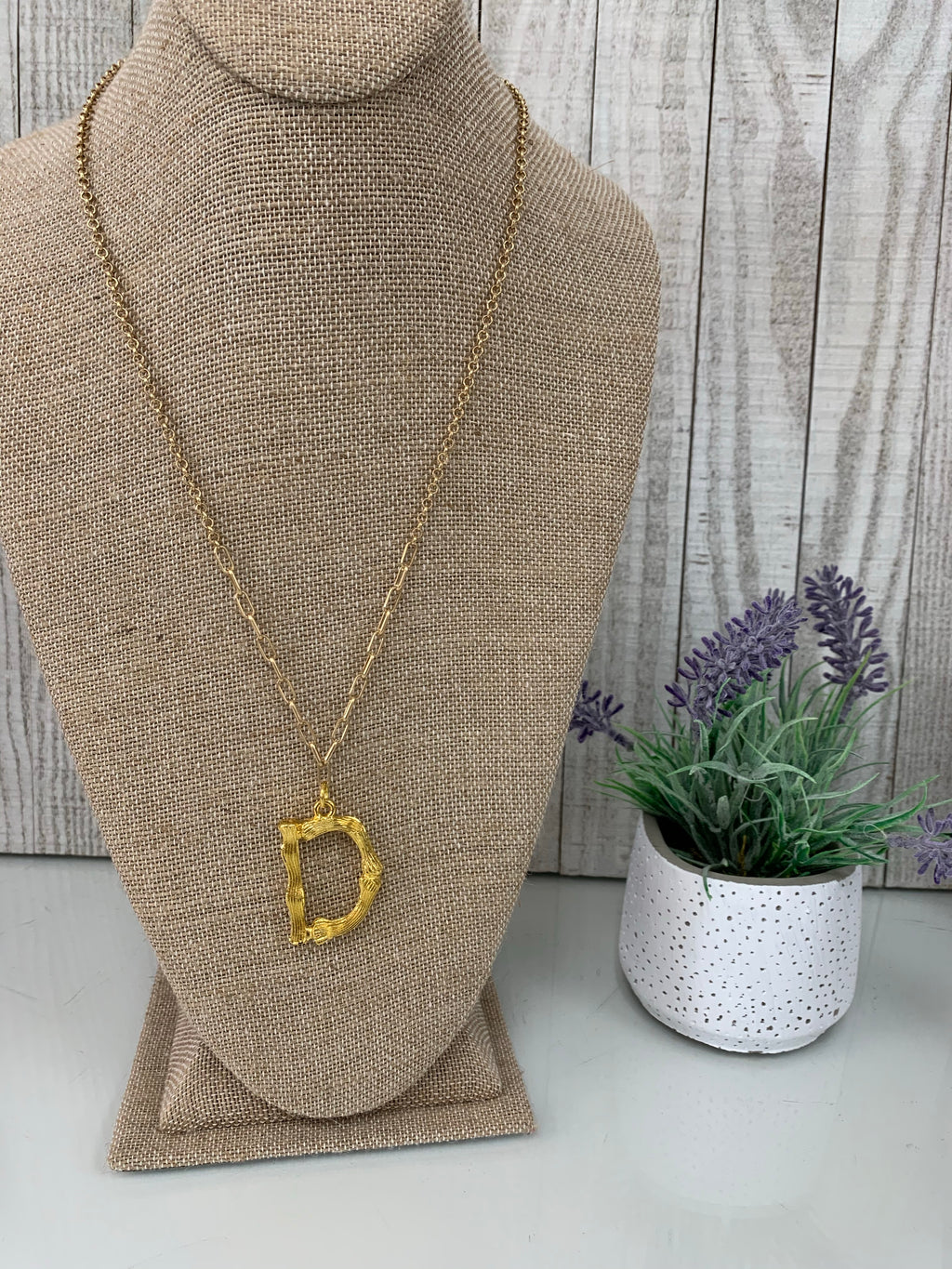 D' Branch Initial Pendant Necklace - Sissy Boutique