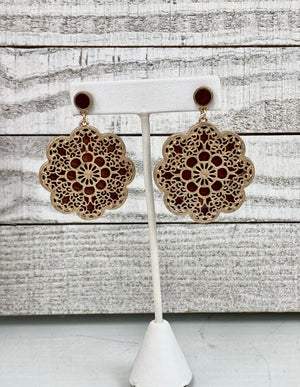 Floral Filigree and WoodEarrings - Sissy Boutique
