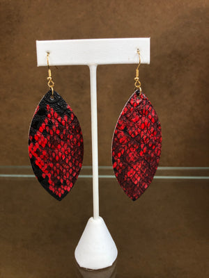 Red and Black Snakeskin Earrings - Sissy Boutique