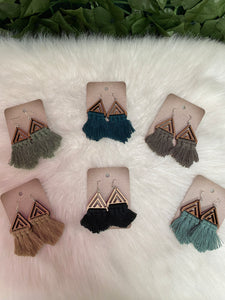 Wooden Triangle Macrame Tassel Earrings