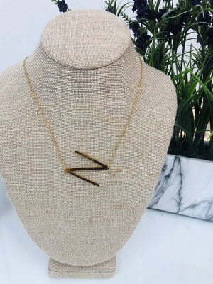 Gold Initial Necklace - N - Sissy Boutique