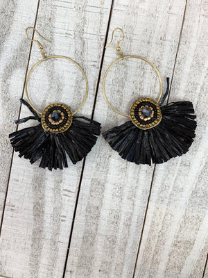 All About Straw Earrings Black - Sissy Boutique