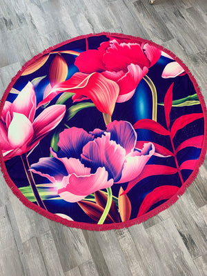 Vibrant flower round beach towel - Sissy Boutique