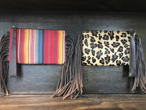 Leopard and Serape Wristlet w/ Genuine Leather Fringe - Sissy Boutique