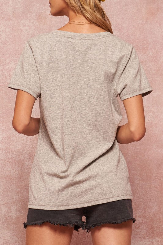 The Bolt Tee - Heather Grey Tee with Lightening Bolt Embroidery