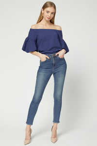 Navy Off-Shoulder Bubble Sleeve Boat Neck Top