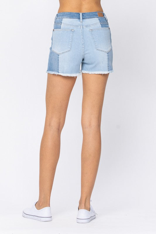 Judy Blue Panel Contrast Denim Shorts