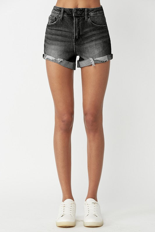 Black Distressed Vintage Denim Shorts