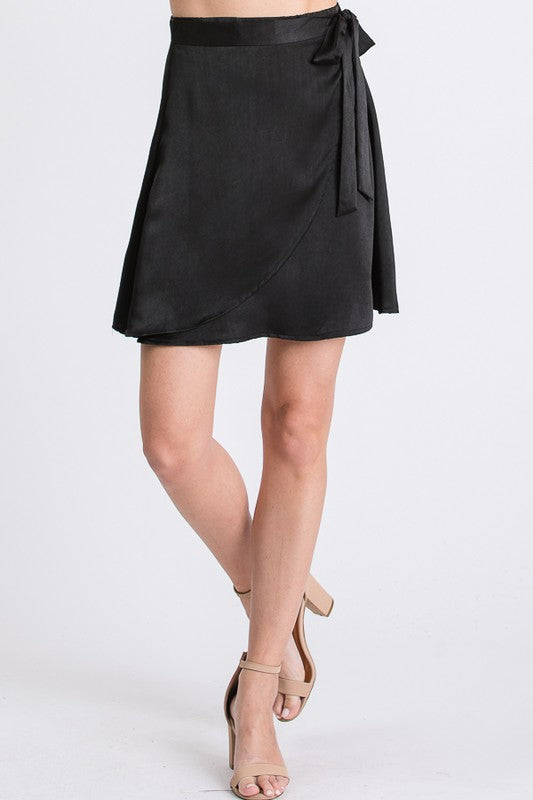 Black Satin Wrap Skirt