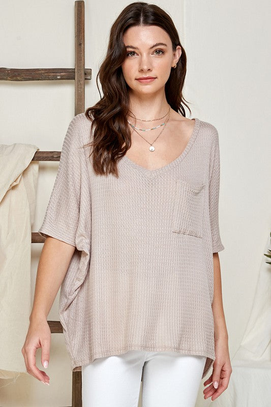Stone Waffle Knit Loose Fit V-Neck Top with Chest Pocket