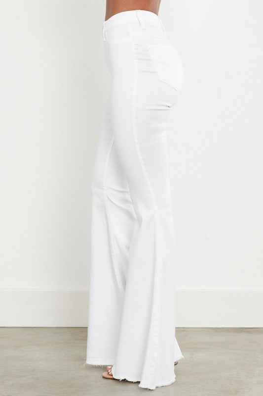 Whitney White High Waisted Bell Bottoms With Raw Frayed Hem