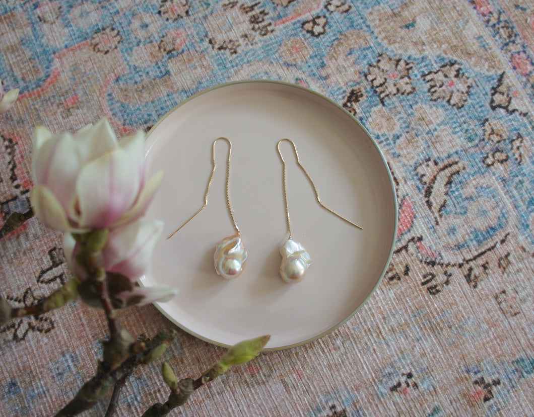 Baroque Pearl Earrings, long version