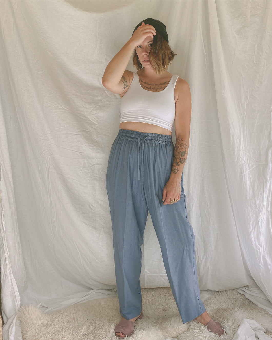 Raw Silk Easy Pants