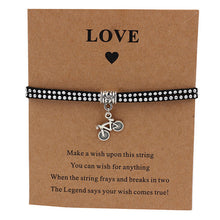 Load image into Gallery viewer, Bicycle Charm Wish Bracelet Black with Silver Strap